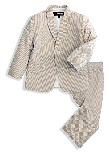 - G288 Boys Seersucker 2 Button Suit Set (10, Natural)