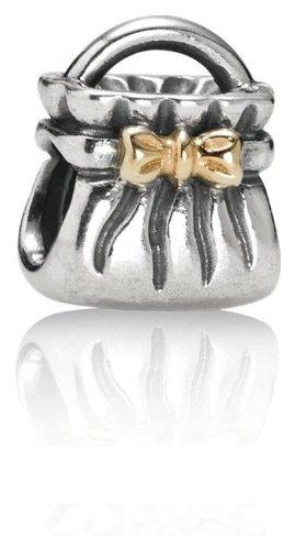 Genuine PANDORA Sterling Silver & 14k Gold Bow Purse Charm 790474