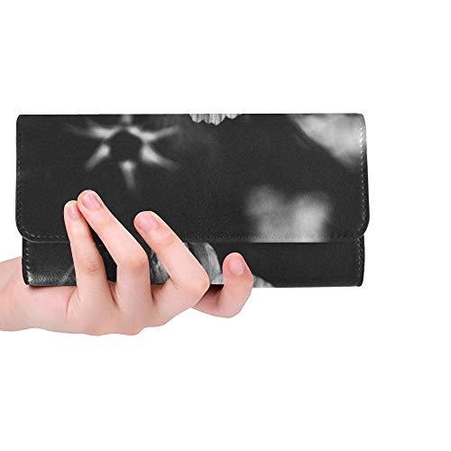Sox Black Tri Fold Wallet - Unique Custom Nature Black And White Plant White Women Trifold Wallet Long Purse Credit Card Holder Case Handbag