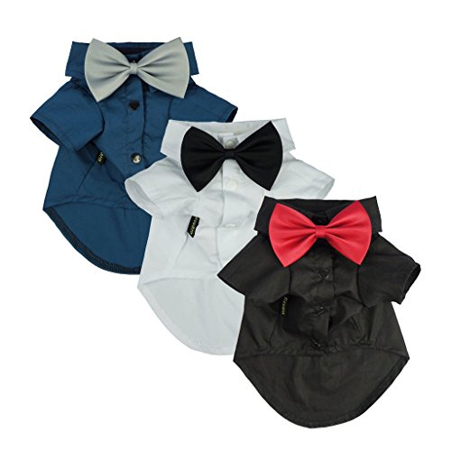 Fitwarm Pet Wedding Clothes Formal Tuxedo White Shirts for Dog with Bow tie White XL by Fitwarm (Image #8)