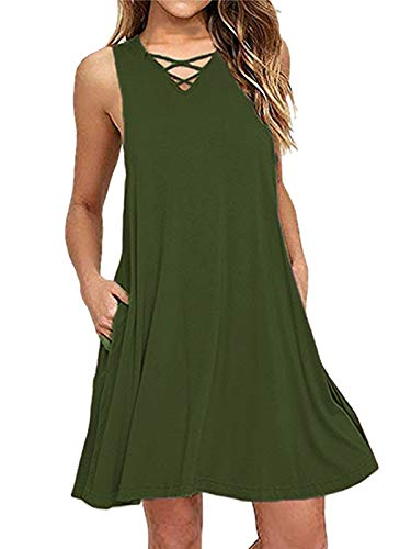 kigod Womens Sexy V Neck Sleeveless Party Mini Dresses Criss Cross Swing Dress with Pocket (Amy Green, X-Large)