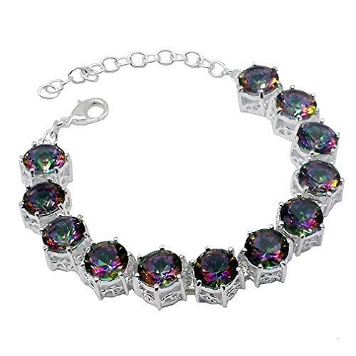 (MING HUANG Mystic Fire Topaz White Gold Plated 925 Sterling Silver Tennis Bracelet 7 to 8 inch (SL-076))