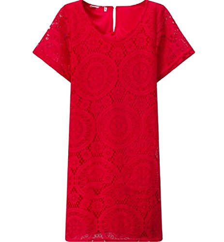 Dresses Sleeves Red Out Short Women Neck Hem Hollow Crew Coolred Lace Ug8zgq