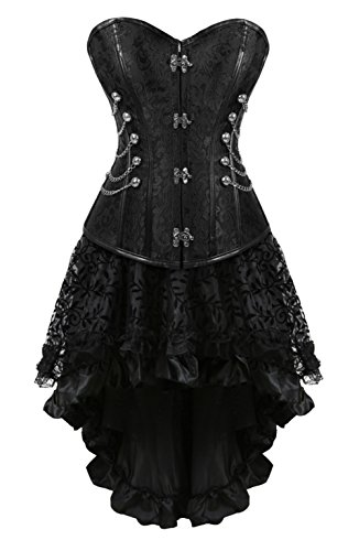 Grebrafan Steampunk Corsets Leather Steel Boned Bustier with Fluffy Pleated Layered Tutu Skirt (US(20-22) 6XL, Black)