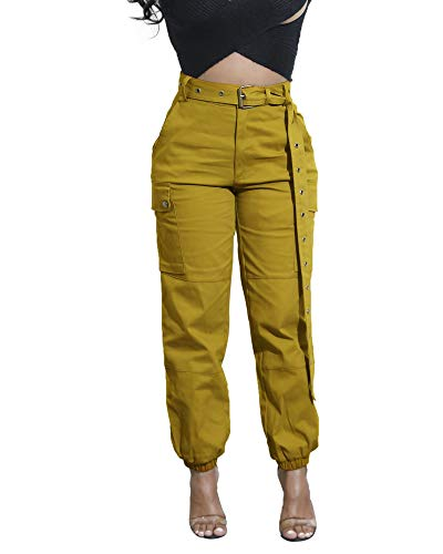 - Cosygal Women's Casual Loose Cargo Pants Trousers Jogger with Belt Pockets Yellow Large