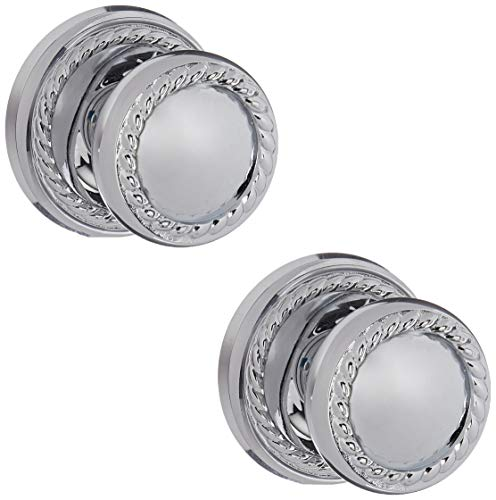 (Classic Rope Rosette Set With Matching Rope Door Knobs Double Dummy In Polished Chrome. Old Door Knobs.)