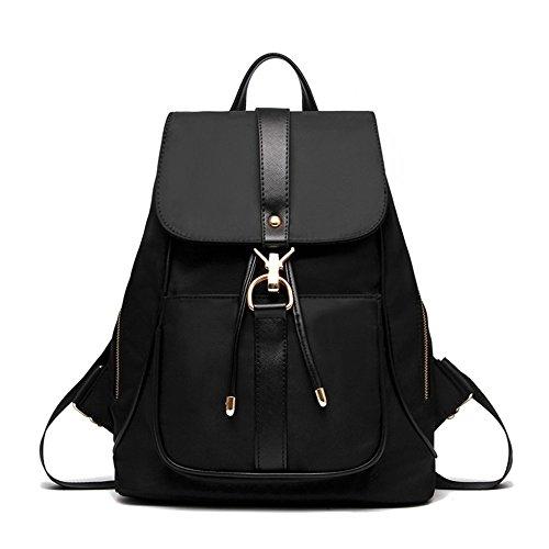 Unisex Classic Fashion Backpack Shoulder Bag For Men and Women Faux Leather(Front) Nylon(Back) Black