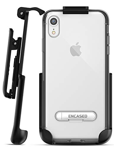 Encased iPhone XR Belt Clip Clear Case with Holster (Reveal Series) Ultra Slim Fit Transparent Cover with Metal Kickstand and Holder (Silver)