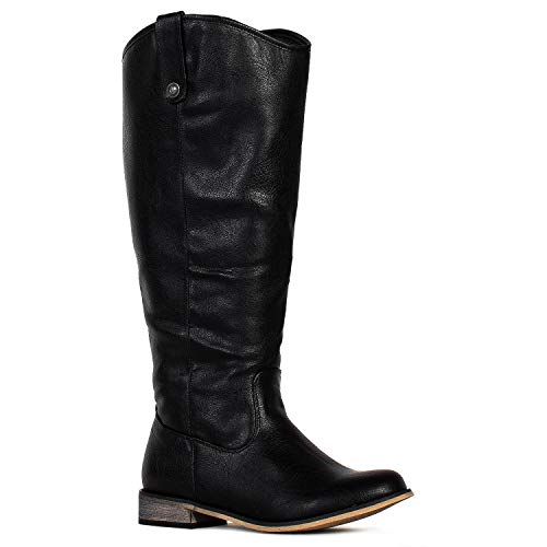 RF ROOM OF FASHION Women's Wide Calf Western Knee High Low Heel Riding Boots Black-No Pocket (8.5)