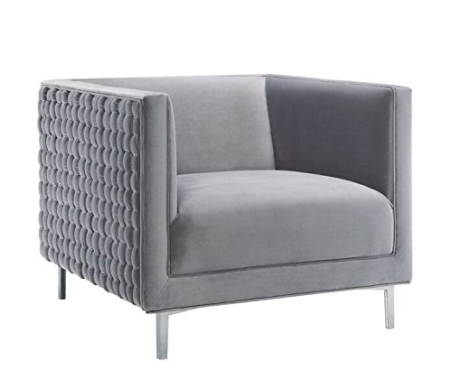 TOV Furniture The Sal Collection Modern Style Woven Velvet Upholstered Living Room Accent Chair, Grey