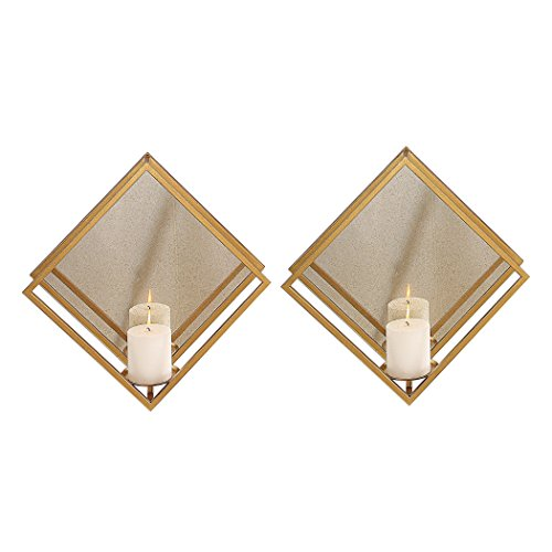 My Swanky Home Minimalist Gold Mirrored Wall Candle Sconce Set 2 | Diamond Square Metal ()