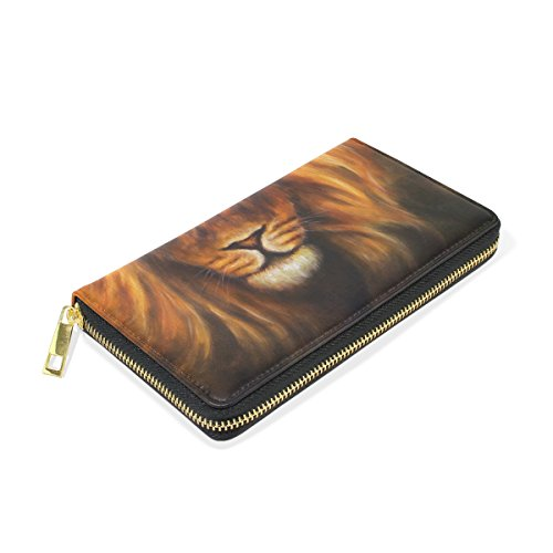 TIZORAX Zip Portrait Lion Organizer Painting Womens Mane With Golden Around Handbags Oil Purses Wallet And Clutch qOqxrg