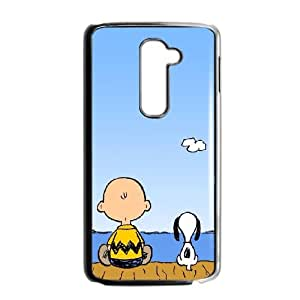 Charlie Brown And Snoopy LG G2 Cell Phone Case Black Exquisite designs Phone Case KM447995