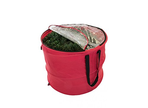 """TreeKeeper 30"""" Red and Black Extra Large Pop-Up Christmas Decorations Storage Bag"""