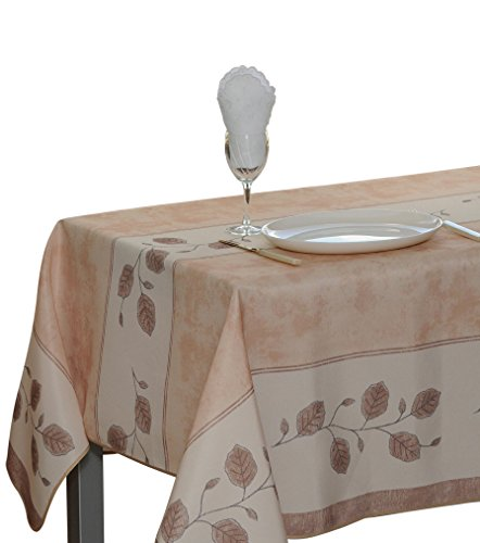 Leaves Beige - 60 x 95-Inch Rectangular Tablecloth Beige Leaf, Stain Resistant, Washable, Liquid Spills bead up, Seats 8 to 10 People (Other Size Available: 63