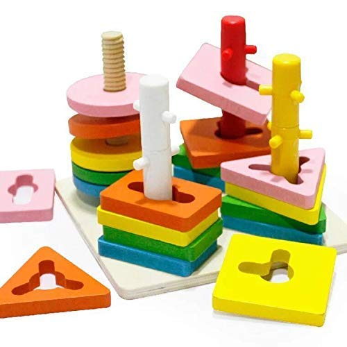 Alytimes Wooden Educational Shape Color Recognition Geometric Board Block Stack Sort Chunky Puzzle Toys, Birthday Gift Toy for Age 3 4 5 Years Old and Up Kid Children Baby Toddler Boy Girl