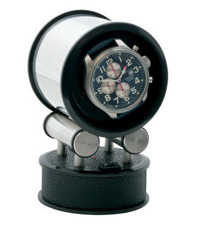 Orbita Voyager Single, Travel Watch Winder (Black Leather) -