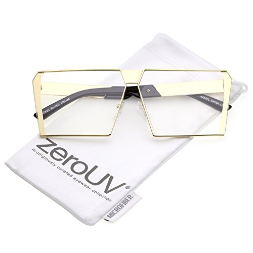 zeroUV - Oversize Modern Semi Rimless Metal Square Flat Clear Lens Eye Glasses 64mm (Gold / - Semi Glasses Square Rimless