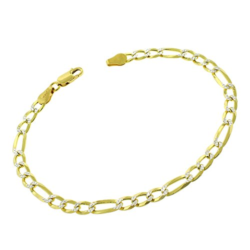 Elite Anti-Tarnish - 5mm Figaro Link - Patented ITProLux - 925 Sterling Silver - Diamond-Cut Pave - 14K Yellow Gold - Solid Bracelet Chain - Made In Italy - 8.5