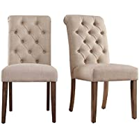 2-Piece Transitional Upholstered Henry Button Tufted Rolled Back Parsons Accent Chairs