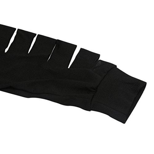 Vovotrade - Las mujeres de manga larga Tops Negro