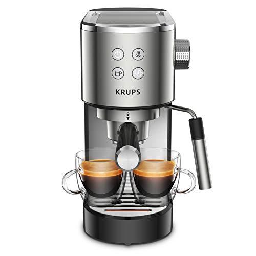 Krups Virtuoso XP442C cafetera espresso, diseño compacto y elegante, capacidad 1.1 L, espresso, cappuccino, sistema…