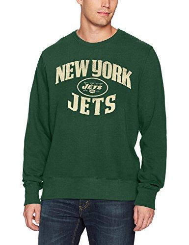 NFL New York Jets Men's OTS Fleece Crew Distressed, Dark Green, Medium