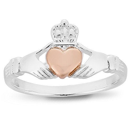 DTPSilver - 925 Sterling Silver and Rose Gold Claddagh Ring