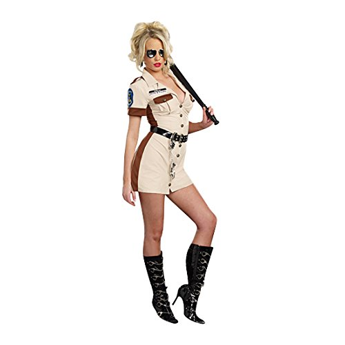 Dreamgirl Women's Highway Patrol Don't Stop Cop Costume, Tan, Small (Halloween Costumes Cop Woman)