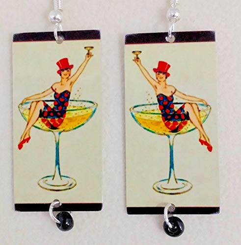 Martini Girl, Cocktail Earrings, Mixed Media, Metal and Glass, Fun Vintage Art, Artist Designed Handmade Sterling Silver Ear Wires Hypoallergenic