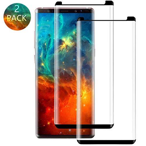 [2-Pack] Galaxy Note 8 Black Screen Protector,Cafetec Tempered Glass Screen Protector HD Clear Film Anti-Bubble 3D Touch Screen Protector Compatible with Samsung Galaxy Note 8.