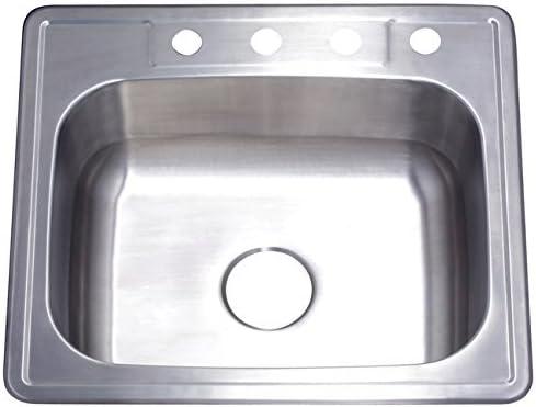 Kingston Brass Gourmetier GKTS2522 22 Gauge, 4 Holes, Self-Rimming Single Basin Stainless Steel Kitchen Sink, Brushed Stainless Steel [並行輸入品]