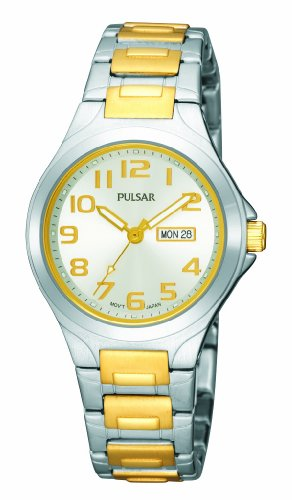 Pulsar Women's PXU037 Functional Two-Tone Silver Dial Day Date Watch