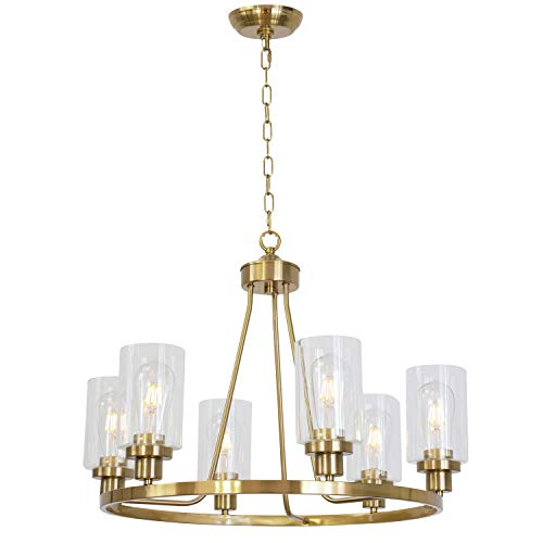 MELUCEE 25-inch Wide Island Lighting Brass 6 Lights Round Chandelier Flush Mount Dining Room Lighting Fixtures Hanging Glass Pendant Light for Kitchen Foyer Bedroom