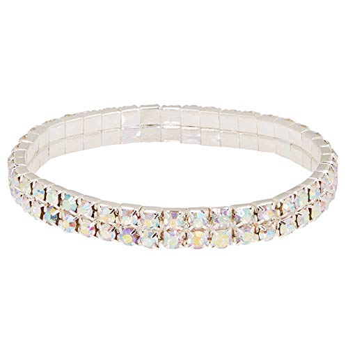 Floral Supply Online - Iridescent Flower Bracelet - Add Bling and Dazzle to DIY Corsage Wristlet for Wedding, Prom or Dance. Faux Rhinestones with Rubber Attachment Disk and Ribbon to Attach Flowers.