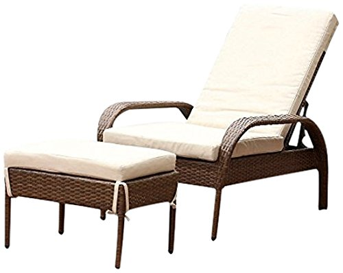 Abbyson® Palermo Outdoor Wicker Chaise Lounge with Cushion, Brown