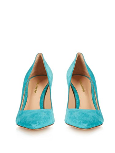 Womens 80mm Spring Handmade On EDEFS Slip Sky Patent Blue Pointed Pumps Toe Court Shoes 1xHdFSw