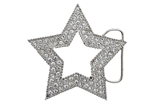 TFJ Men Women Belt Buckle Fashion Metal Lone Texas Star Rhinestones Bling Silver Color