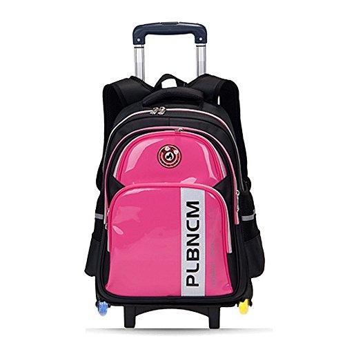 lazutom Wasserdicht Nylon Lovely Kind Schule Rucksack Rolling Rucksack Rädern Book Tasche mit abnehmbaren 3Riemenscheiben Rädern Trolley Hand rot - rot