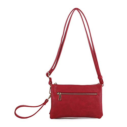 Isabelle Small Multi-Compartment Women's Crossbody Wristlet (Red)