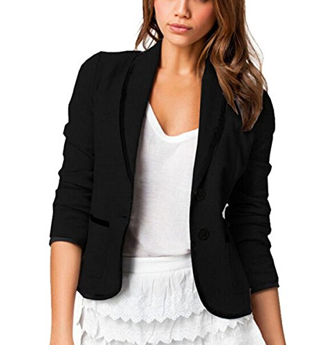 Women Long Sleeve Slim Suit Jacket Coat Black - 8