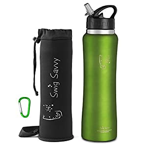 Swig Savvy Stainless Steel Insulated Leak Proof Flip Top Straw Cap Water Bottles with Pouch & Clip, Green, 32oz