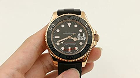 My_TimeZone Luxury Brand Top famous swiss Automatic movement rose gold color sapphire glass Stainless steel watch high quality rubber strap (Rolex Color)