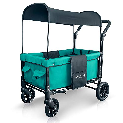 WonderFold Multi-Function 2 Passenger Push Folding Stroller Wagon, Adjustable & Removable Canopy, Double Seats with 5-Point Harness (Teal Green)
