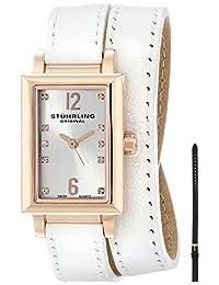 Stuhrling Original Women's 810.SET.03 Vogue Audrey Paris Swiss Quartz Rose Tone Wrap-Around Leather Additional Strap Watch Set
