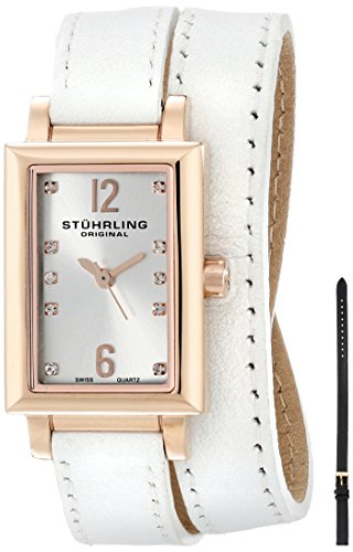 Stuhrling Original Women's 810.SET.03 Audrey Paris 16k Rose Gold-Plated Stainless Steel Watch Set with Interchangeable Leather Straps