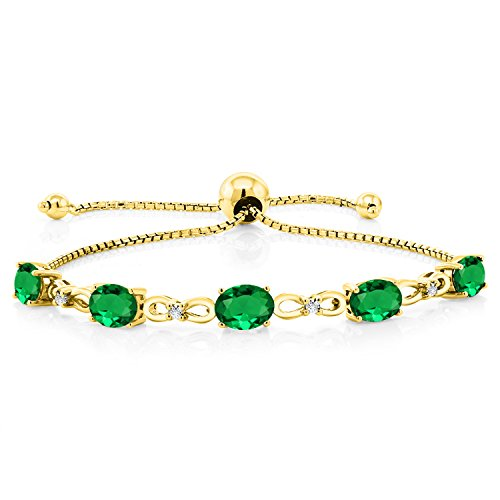 Gem Stone King 3.00 Ct Green Simulated Emerald 18K Yellow Gold Plated Silver Diamond Bracelet