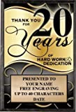 Corporate Plaques - 5 x 7 Thank You For 20 Years Recognition Trophy Plaque Award