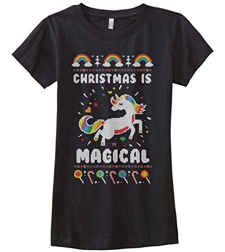 Christmas is Magical Unicorn Ugly Christmas Girls' Fitted T-Shirt M Black]()
