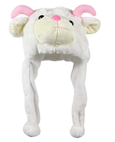 Bioterti Plush Fun Animal Hats –One Size Cap - 100% Polyester With Fleece Lining (White (White Goat)